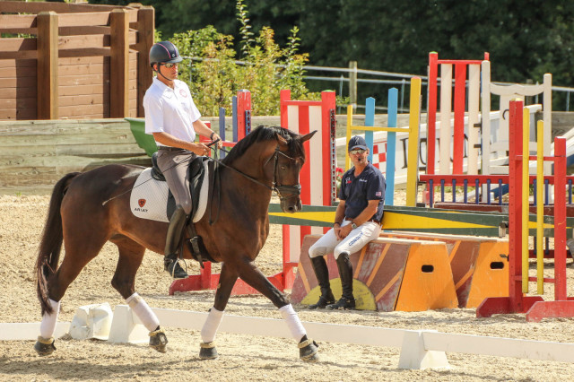 Boyd Martin and Rosa Cha W during the dressage demonstration. Photo by Cindy Lawler.