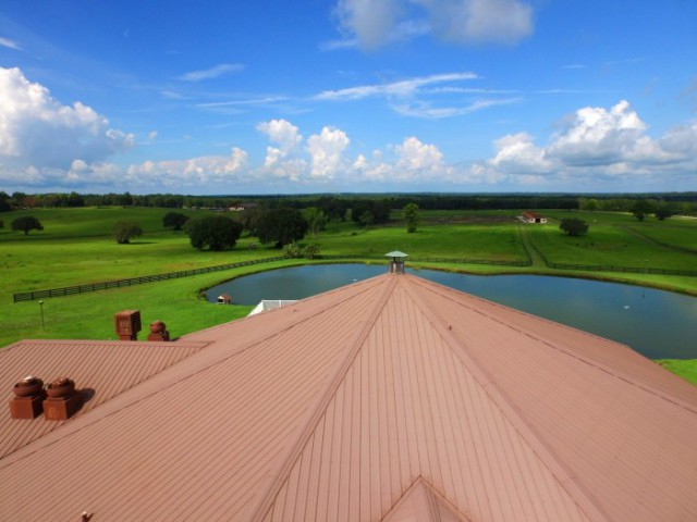 The clubhouse at the Ocala Jockey Club overlooks the future cross country water complex and stadium course. Photo via Ocala Horse Properties