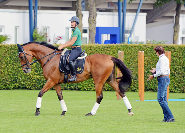 Holly Jacks-Smither and More Inspiration in their flat school with Penny Rowland today at Aachen. Photo by Jenni Autry.
