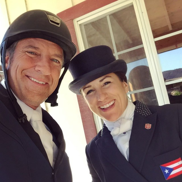 Lauren Billys and Mike Rowe get ready to show off their dressage skillz. Photo via Lauren on Instagram.