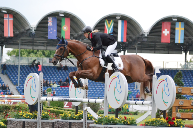 Sandra Auffarth and Opgun Louvo at Aachen in 2013. Photo by Jenni Autry.
