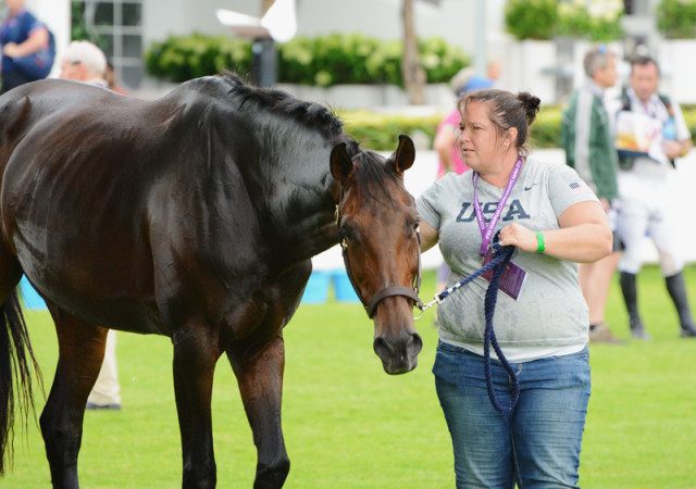 Super groom Shannon Kinsley and Veronica at Aachen. Photo by Jenni Autry.