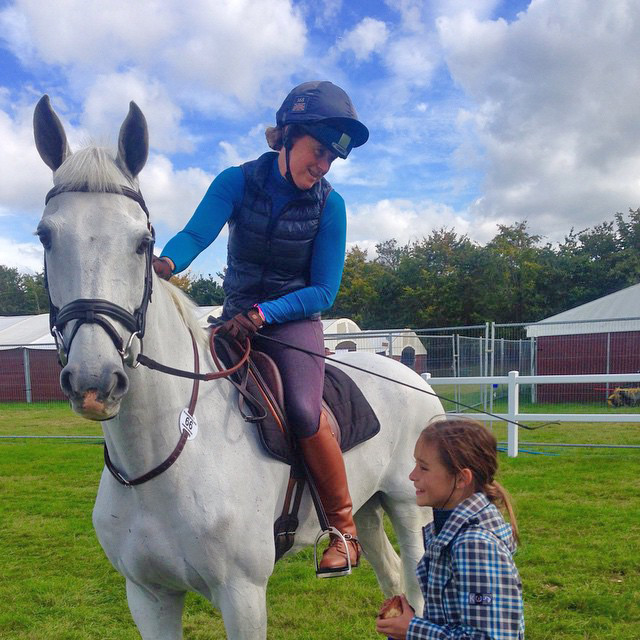 Taylor McFall meets Pippa Funnell at Blenheim. Photo courtesy of Hawley Bennett.