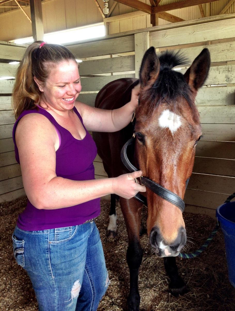 Equine physical therapy - Massage Therapist Bronwyn Watts Working On Calling All Comets Photo Courtesy Of Valerie Ashker