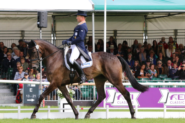 Michael Jung and Fischerrocana share the Burghley dressage lead wtih William Fox-Pitt on Fernhill Pimms