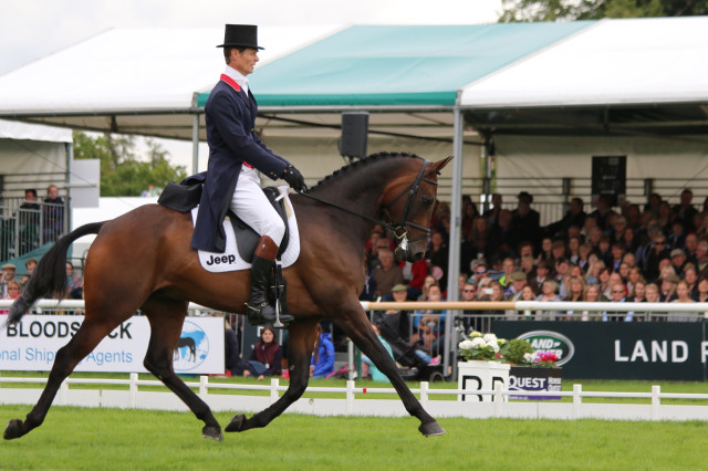 William Fox Pitt and Fernhill Pimms share the Burghley dressage lead with Germany's Michael Jung and fischerRocana FST. Photo by Samantha Clark.