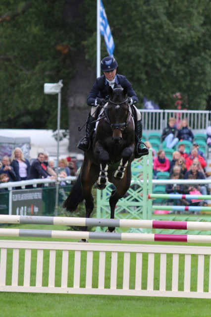 "Tiana Coudray sits tight as Rupert gives the Burghley Young Event Horse 4 year old jumps some air! ""In a perfect world I'd find some owners to keep him for me as I think he's really quite proper!"" Photo by Samantha Clark"