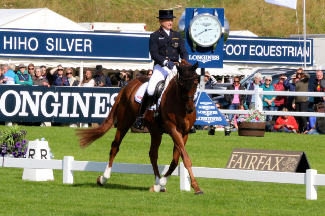 Michael Jung said that the fact that ficherTakinou was so relaxed made him easy to ride in the ring, and their mistake free test left them in 2nd place overnight