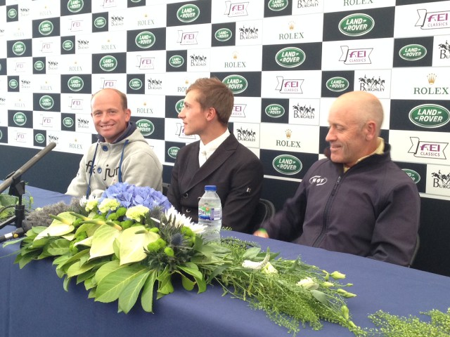 Press conference Day 1 Dressage Land Rover Burghley Horse Trials — Michael Jung, Niklas Bschorer and Andrew Hoy are your top three. Photo by Samantha Clark.