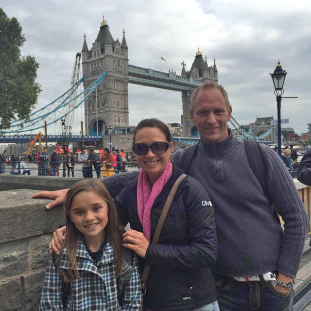 Taylor, Jen and Earl McFall on their trip to England. Photo courtesy of Dragonfire Farm.