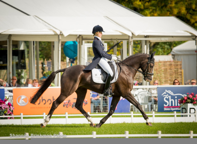 Sandra Auffarth and Ispo lead after the first day of dressage at the Blenheim Palace CCI3*. Photo by Shannon Brinkman