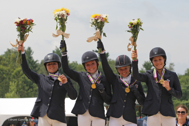 The gold medal CH-J* Area II team at NAJYRC 2015. From left: Skyler Decker, Camilla Grover-Dodge, Amanda Beale Clement and Morgan Booth. Photo by Brant Gamma for the FEI.