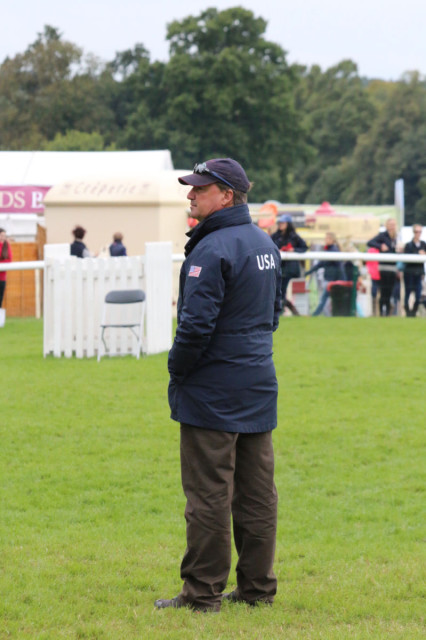 U..S Team Coach David O'Connor watching one of his riders prepare for dressage at the Land Rover Burghley Horse Trials today. Photo by Samantha Clark.