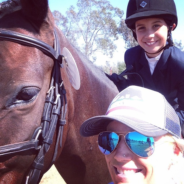 Elise's first horse show selfie with her coach Hawley Bennett. Photo from Hawley'Bennett's Facebook page