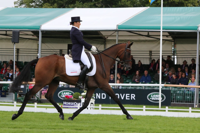 Laine Ashker and Anthony Patch strutting their stuff in the Burghley arena. Photo by Samantha Clark.