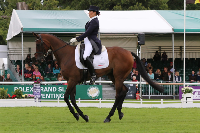 Laine Ashker and Anthony Patch during their Land Rover Burghley 2015 dressage test