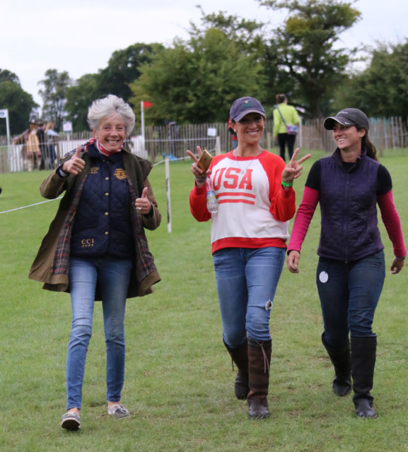 """It doesn't get any smaller but it does get more doable each time we walk it!"" Laine and Valerie Ashker walking the Burghley XC with Lauren Sherill."