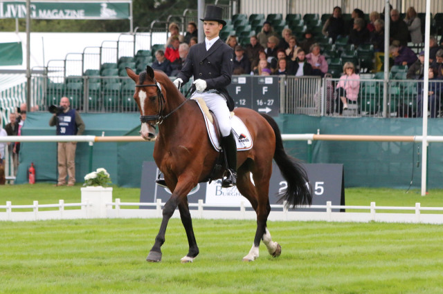 Niklas Bschorer and Tom Tom Go 3 move into 3rd place after the first day of dressage at the Land Rover Burghley Horse Trials on a score of 39.2