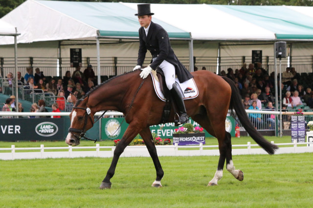Niklas Bschorer leaves the Burghley arena after a super test for 39.2, good enough for 3rd place at the end of the first day of dressage