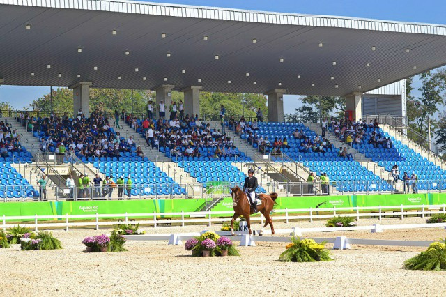 The view of the main stadium at Deodoro, site for the equestrian events at the 2016 Olympic Games in Rio. Photo by Leslie Wylie.