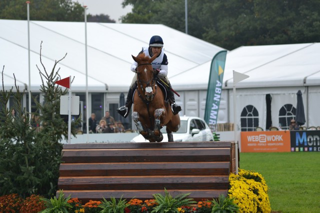 Buck Davidson and Copper Beach on their way to a clear round at Boekelo CCIO3*. Photo by Leslie Wylie.