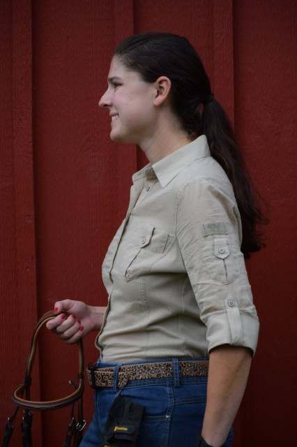 Some of the features of the Favorite Shirt that I really like are the knit side panels, combined with princess seams. Photo by Lorraine Peachey.