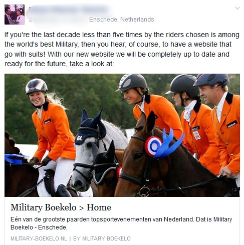 Screenshot from the Boekelo Facebook page.