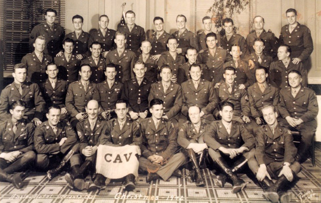 Capt. Edward Bimberg is is in the second row from the top, the seventh man from the left, in this photo of the 101st Cavalry Regiment taken in 1942. He passed away in 2010 at the ripe old age of 91 and was an active horseman to the end. Photo courtesy of United States Army Archives.