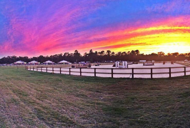 The sunset after the first show held at Bruce's Field in September. Photo courtesy of Aiken Horse Park Foundation.