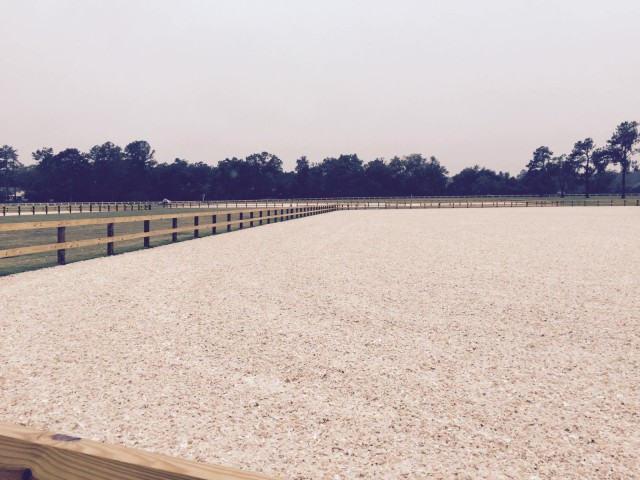 The arenas at Bruce's Field feature top quality GGT footing. Photo courtesy of the Aiken Horse Park Foundation.