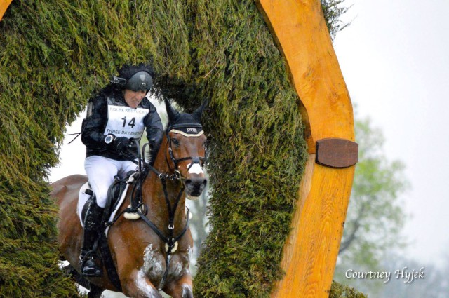 Laine Ashker's head makes contact with the keyhole on this year's Rolex Kentucky cross country course. Photo by Courtney Hyjek.