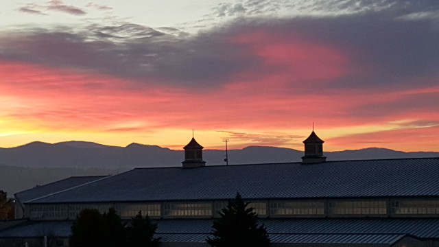 Sunrise over the Virginia Horse Center. Photo by Dave Taylor.