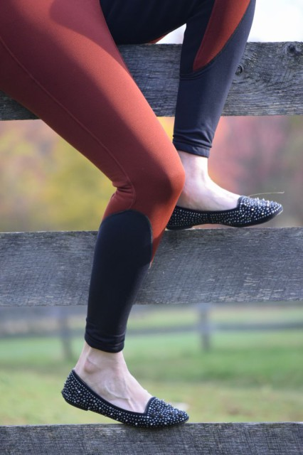 I appreciate the stretch panels at the lower leg of the Sit Tight N Warm Winter Breeches, which help to provide a nice fit under my tall boots. Photo by Lorraine Peachey.