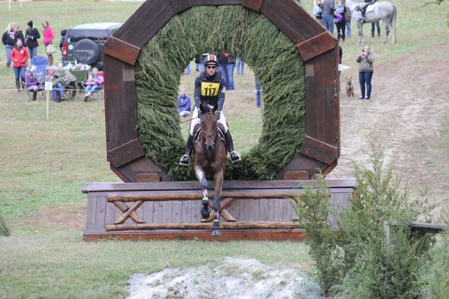 Doug Payne and Vandiver through the keyhole on this year's Dutta Corp Fair Hill CCI3* course. Photo by Julianne Pettyman.