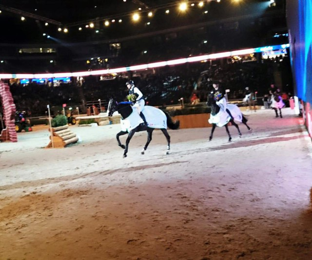 Ingrid Klimke and Parmenides lead the victory gallop in Stockholm. Photo via Ingrid on Facebook.