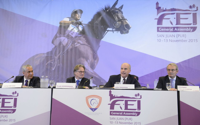 FEI President Ingmar De Vos, left, with the three Olympic discipline Chairs, Frank Kemperman (dressage), John Madden (jumping) and Giuseppe Della Chiesa (eventing) at yesterdays General Assembly. Photo by FEI/Richard Juilliart.