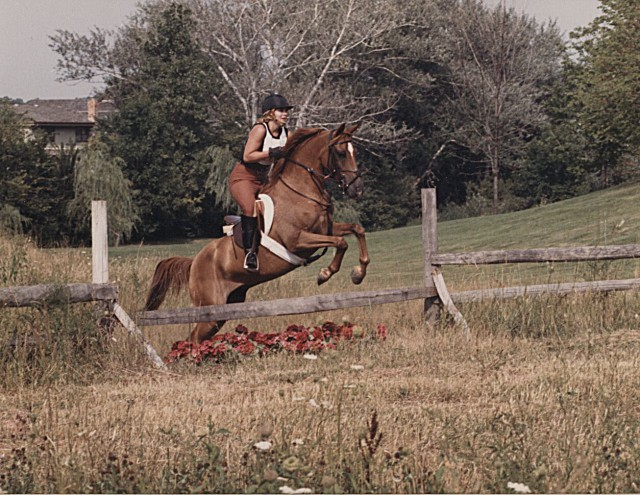 Chrislin Farm (summer 1986): Our very first mini event. Dismal dressage, clean cross country and a runout on stadium. Photo courtesy of Mary Jo Downen.