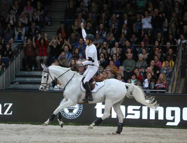 Sidney Dufresne and Looping de Buissy celebrate their winning round. Photo courtesy of Stuttgart German Masters.