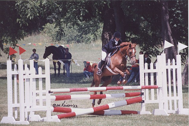 Fox River Valley Pony Club H.T. (July 1992): On our way to the win, and the Hill 'N Dale Perpetual Trophy for best dressage score at Training level. Photo by Margaret Kaiser.