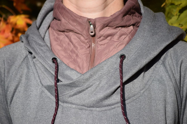 I also do find that the unique neckline of the Warmwear Hoodie to be extremely functional...I can zip up the quilted collar in order to block out the wind, or can easily zip it down for additional ventilation. Photo by Lorraine Peachey