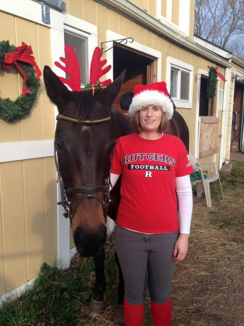 Tiffany and her mare Diamond Daylilly getting into the Christmas spirit! Photo courtesy of Tiffany Morey.