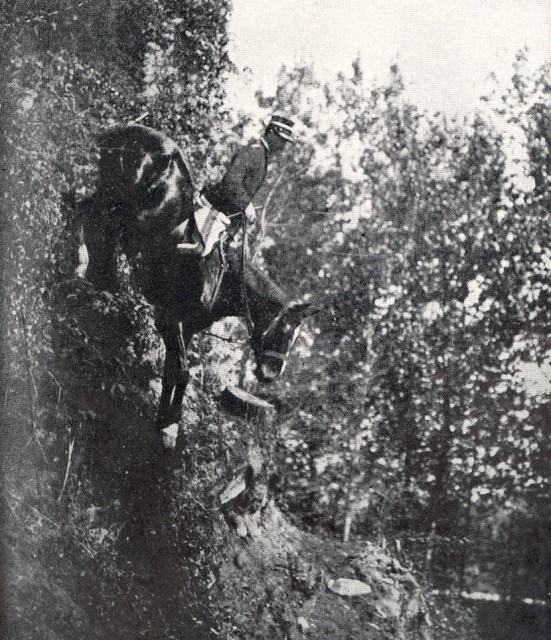 "Every officer of the Italian Cavalry School in Pinerolo was required to go down ""the descent of Mombrone"" before they left the school. The 20-foot drop from the window of a ruined castle about three miles from Pinerolo was considered a test of nerve. Source: lrgaf.org"