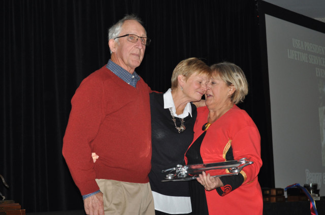 Brian and Penny Ross, who ran the Virginia Horse Trials for 25 years and stepped down last year,  received the USEA President's Award for lifetime service to the sport. Photo by Leslie Threlkeld.