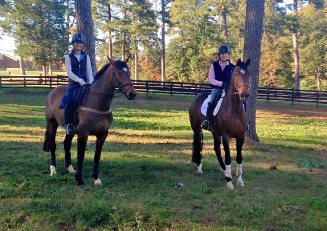 Julie Richards and Sandhills Brillaire out for a hack with Nanny Mcfadden, Julie's goddaughter, and Katori. Photo courtesy of Julie Richards.