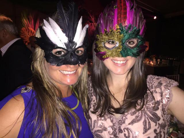 Hannah Sue Burnett found Rio masks for the eventing crowd to wear. Photo by Gloria Callen.