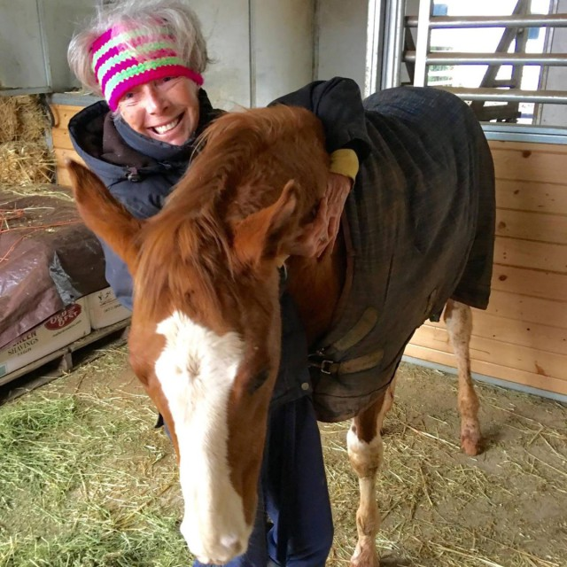 "The adorable Valerie Ashker with the equally adorable homebred, ""Flecks On Fleek""! Photo via Valerie's FB."
