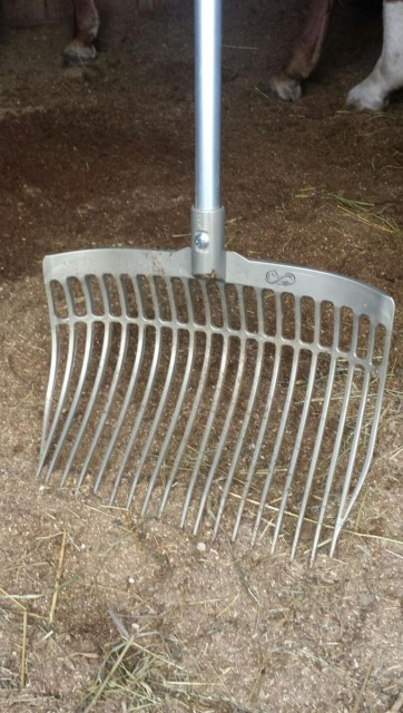 When I first saw the Forever Fork, I was taken aback to see the demonstration of the fork laying face down on the ground...with someone standing on the upside down basket. Photo by Lorraine Peachey.