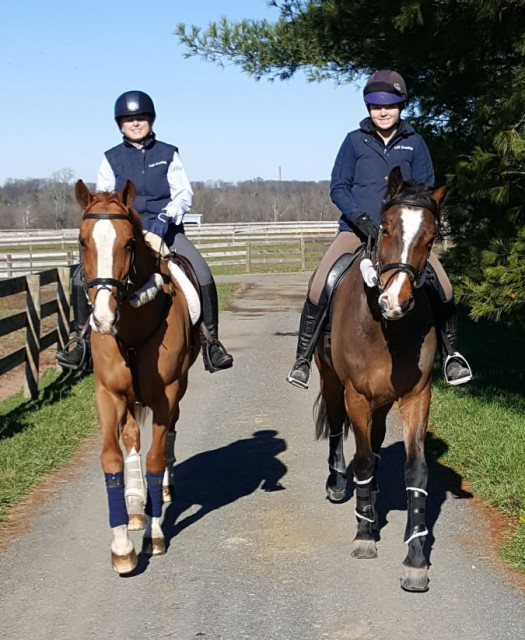 Sharon Decker on Share Option and Skyler Decker on Inoui Van Bost out for a post lesson hack. Photo by Dave Taylor.