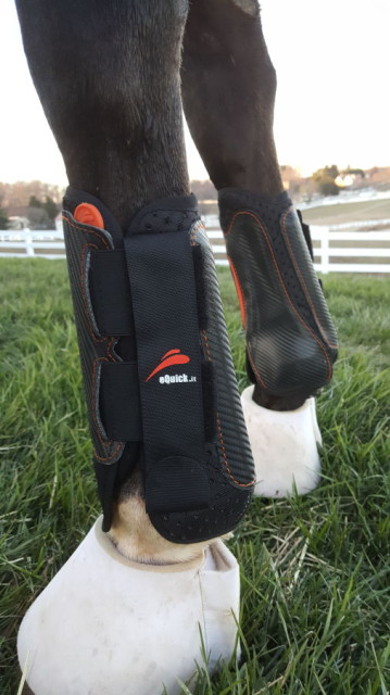 The eQuick eVenting Cross Country Boots offer a patented quick release tab making removal of the boots super fast and easy. Photo by Dave Taylor