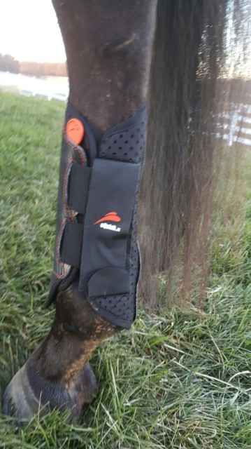 The eQuick eVenting Cross Country Boots are made from a composite carbon fiber and Kevlar material. Photo by Dave Taylor